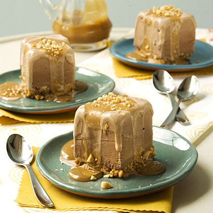 Chocolate-Peanut Ice Cream Squares With Peanut Butter Sauce