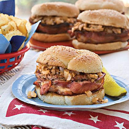 bacon wrapped barbecue burgers recipe myrecipes