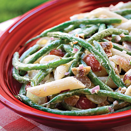Green Bean, Grape, and Pasta Toss                            RecipeDress up plain green beans with this pasta toss featuring pecans, bacon, red grapes, and red onion. It's reminiscent of broccoli salad and is perfect for taking to potluck dinners and supper clubs, or even just enjoying at home with your family.