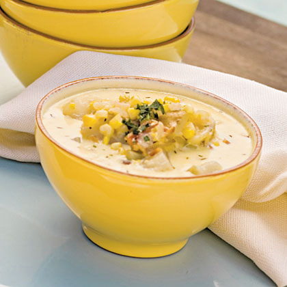 Corn Chowder with English Peas Recipe