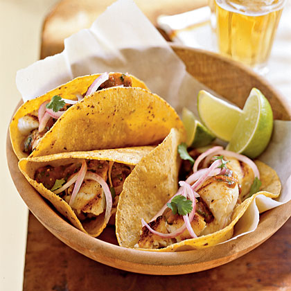 Grilled Fish Tacos with Pickled Onions and Salsa Roja