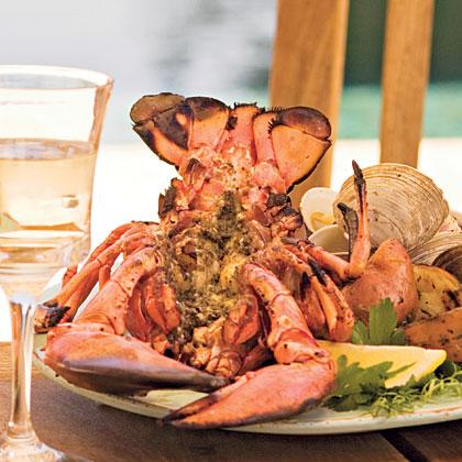 Grilled Split Lobster with Pesto