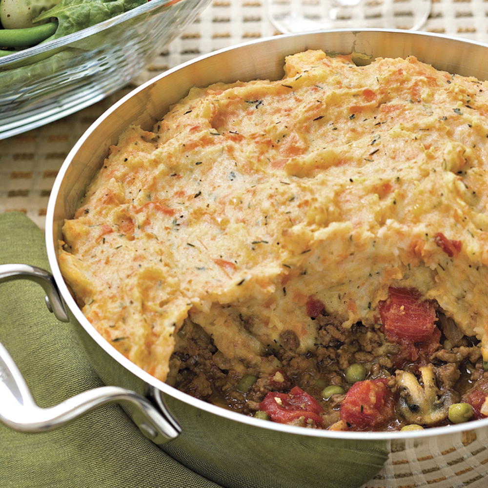 Shepherd's Pie                            RecipeThis hearty dish pairs ground beef with earthy veggies like carrots, peas, mushrooms with flavorful, cheesy mashed potatoes. You can even make this dish ahead and refrigerate for an easy weeknight meal.