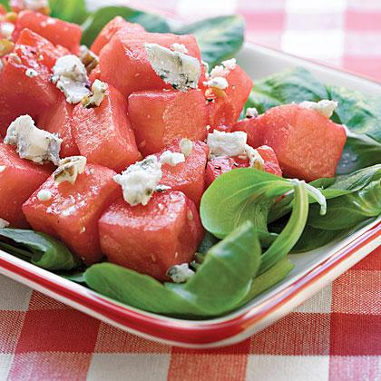 Watermelon, Mâche, and Pecan Salad