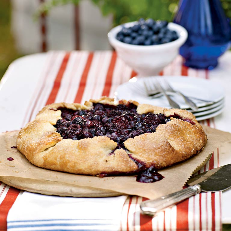 Blueberry and Blackberry Galette with Cornmeal CrustRecipe