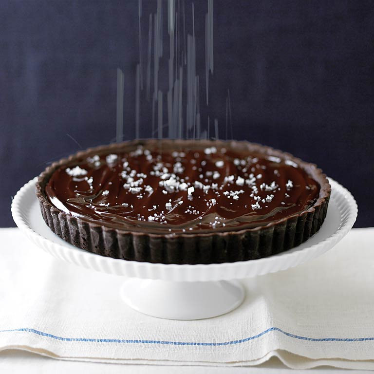 Salted Chocolate Tart RecipeThe addition of coarse salt to the rich chocolate tart creates the perfect salty-sweet combination that is sure to delight your taste buds.