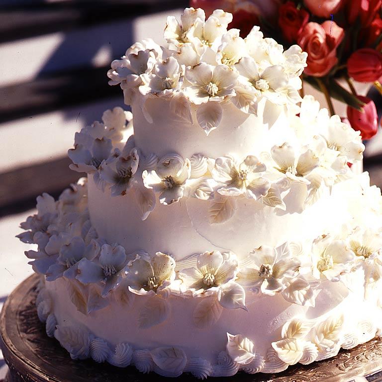 Elegant wedding cakes myrecipes dogwood blossom wedding cake junglespirit Gallery