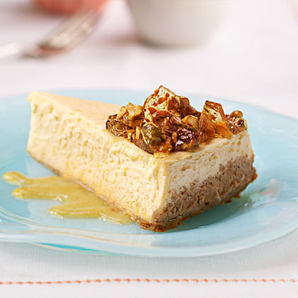 Nectarine Cheesecake with Pistachio Brittle