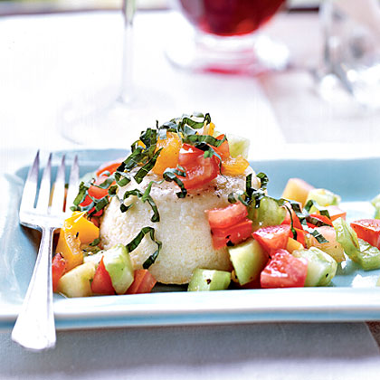 Parmesan Flans with Tomatoes and Basil