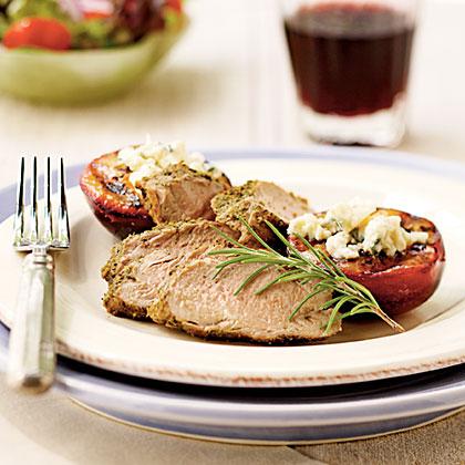 Peppered Pork Tenderloin With Blue Cheese Plums Recipe Myrecipes