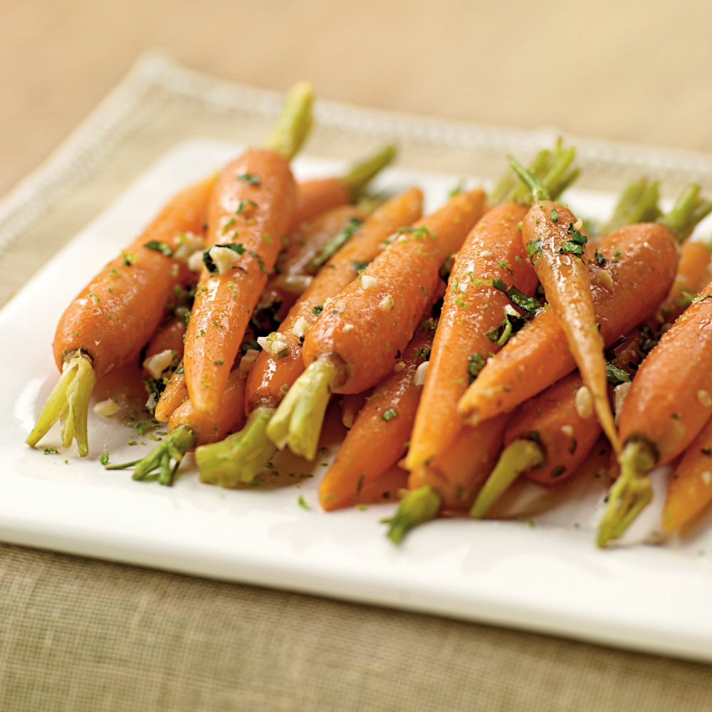 Steamed Carrots with Garlic-Ginger Butter Recipe | MyRecipes