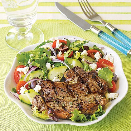 Grilled Lamb Chops with Greek SaladRecipe