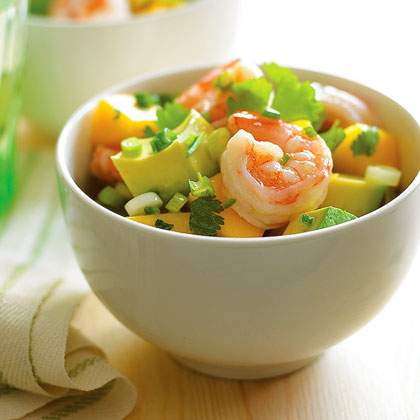 Mango Avocado Shrimp Salad RecipeZesty and filling, this no-cook salad combines fresh summer ingredients–mangoes and avocadoes, with a quick three-ingredient dressing. Fresh chiles add a bright kick of spice to the finished dish. Chill for about an hour to let the flavors marry.