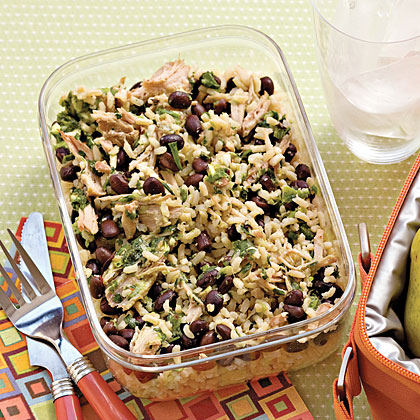 Pork-and-Black Bean Power Lunch RecipeRice and beans act as staples for many island menus, so introduce the fiber and protein rich combo into your diet with this hearty meal. Add cooked pork roast and salsa verde to the whole grain rice and black beans. It's perfect for a working lunch–simply microwave and enjoy.