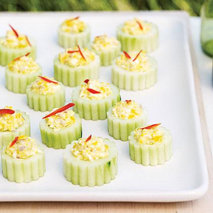 Deviled Cucumber Cups