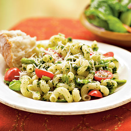 Fava Beans with Pesto and Cavatappi Recipe | MyRecipes