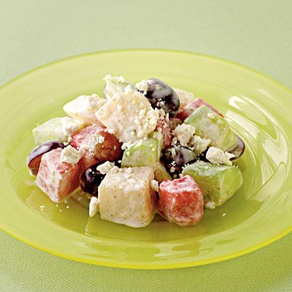 Cucumber, Asian Pear, and Watermelon Salad with Ricotta Salata