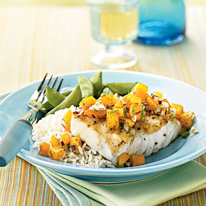 Halibut with Persimmon Tomato and Dill Relish Recipe
