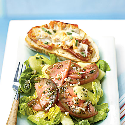 Ham and Cheese Tartines with Cherokee Purple Tomato Salad