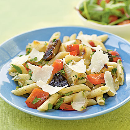 Herbed Penne with Simple Grilled Vegetables Recipe