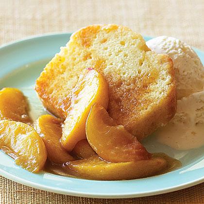 Sautéed Peaches over Pound Cake