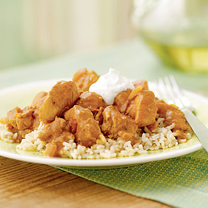 Spicy Peanut Chicken over Rice Recipe | MyRecipes