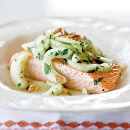 Salmon with Spicy Cucumber Salad and Peanuts Recipe