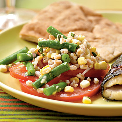 Farro, Green Bean, Corn, and Abraham Lincoln Tomato Salad