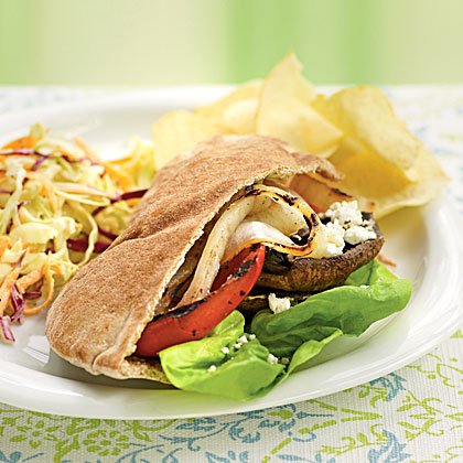 Grilled Vegetable Pitas with Goat Cheese and Pesto Mayo