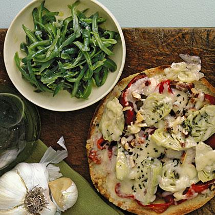 Artichoke Pizzas with Lemony Green Bean Salad