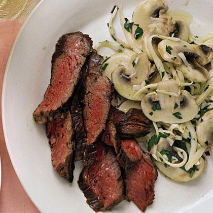 Seared Skirt Steak with Mushroom Salad