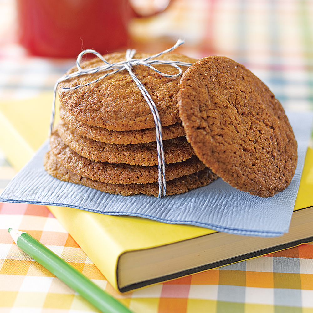 Gingersnaps RecipeSweeten the holidays for coworkers and teachers by leaving a surprise treat on their desks. Stack the cookies then tie with colorful string and serve on festive napkins.Cost per gift: $0.65Total recipe cost: $7.80Recipe yields: 12 gifts (5 cookies per gift)