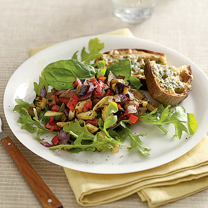 Grilled Sicilian Vegetable Salad With Spicy Gruyere Toast