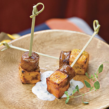 Sweet Potato Squares With Lemon-Garlic Mayonnaise Recipe