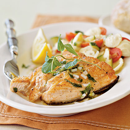 Salmon with Lemon-Mint Dressing Recipe