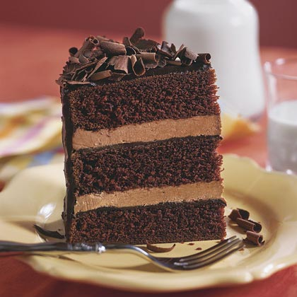 Roll up your sleeves and get baking with this three-layer chocolate cake. Filled with a rich Coffee Liqueur Ganache Icing and Mocha-Chocolate Cream Filling, this dessert is a chocoholic's dream come true. It takes a little time, but the results are heavenly.Recipe: Chocolate Cake IV