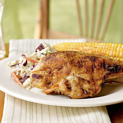 Quick Barbecue Chicken RecipeInstead of marinating or basting, simply rub the chicken breasts with a spice mixture of chili powder, cumin, ginger, cinnamon, and black pepper and put them on the grill.