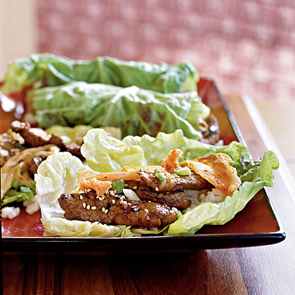 Korean Sesame Beef with Lettuce WrapsRecipe