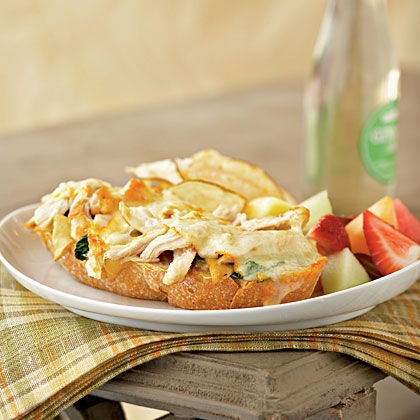 Open-Faced Chicken and Muenster Sandwiches with Apricot-Dijon SpreadRecipe