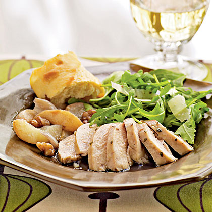 Roast Chicken with Pears, Shallots, and Walnuts