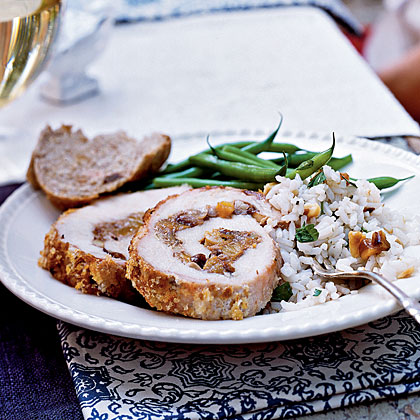 Fruit and Walnut–Stuffed Pork Loin