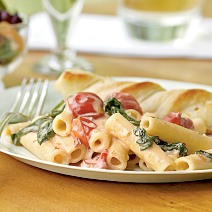 Ziti with Spinach, Cherry Tomatoes, and Gorgonzola Sauce