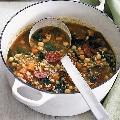 Farro Soup with Chorizo