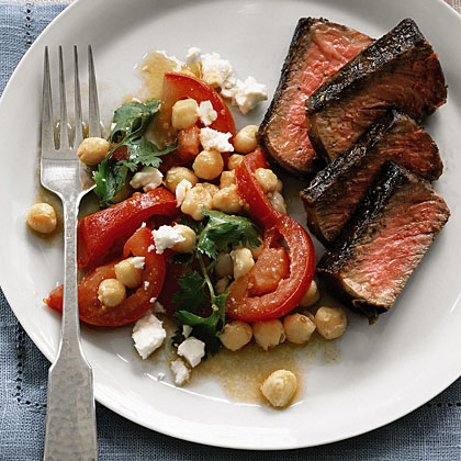 Steak with Chickpeas, Tomatoes, and Feta Recipe