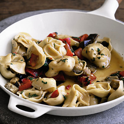 Tortellini with Egglant and Peppers