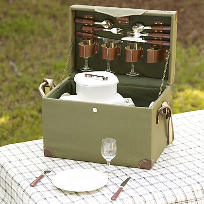 Pack a game-day meal that favors wine glasses over beer cans in an elegant picnic box. The picnic box includes wine glasses, porcelain plates, and silverware for four, plus three plastic storage containers, an insulated bag, a tablecloth, and a corkscrew. It's the perfect gift for the tailgater that likes to take the better things in life with him on the road. Get Yours Now