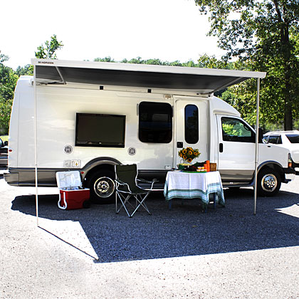 Bring on the ultimate game-day experience. The Tailgater lets you roll onto campus in style. Set up shop while you watch the pre-game shows on the flat screen TV underneath the roll-out awning, or stay inside in the plush interior and enjoy the cool air while the rest of your fellow fans beat the heat under the sun. It's a splurge, for sure, but a must-have for any die-hard fan that wants to be the life of the party. Get Yours Now