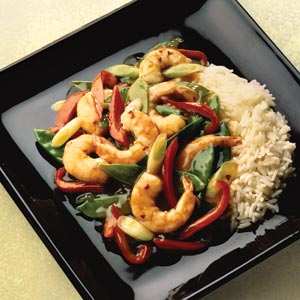 Lite Asian Spicy Shrimp with Snowpeas Recipe