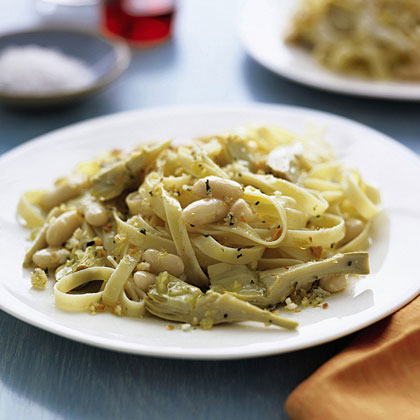 Fettuccine with Artichokes and BeansRecipe