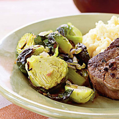 Caramelized Shallots and Brussels Sprouts with Pancetta Recipe